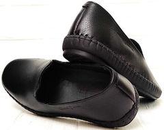 Мужские кожаные мокасины слипоны черные смарт кэжуал Broni M36-01 Black.