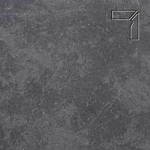Stroeher - Keraplatte Roccia 845 nero длина стороны угла 290 артикул 9118 - Плинтус клинкерной ступени правый