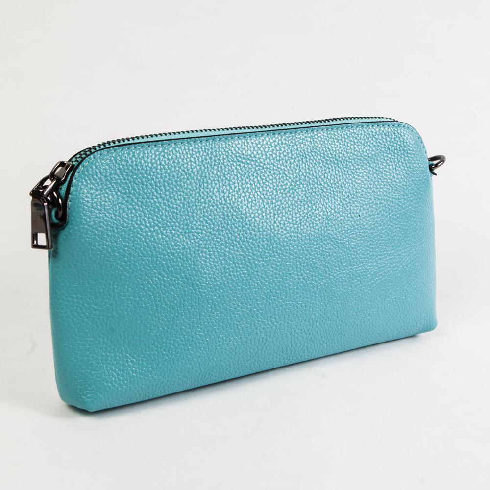 Маленький стильный женский повседневный клатч сумочка голубого цвета из экокожи Dublecity DC802-7 Blue