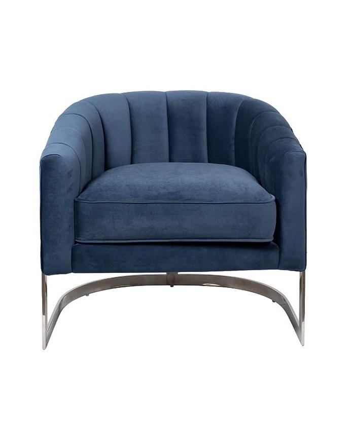 Кресло на металлическом каркасе темно-синее (ZW-777 BLU SS) Garda Decor