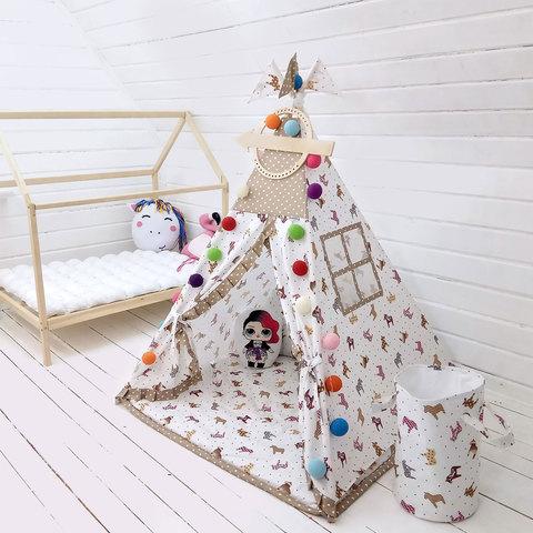 """Палатка ВигВам для детей """"Веселые Лошадки"""""""