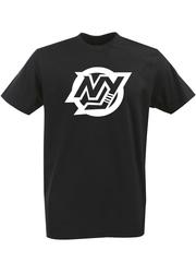 Футболка с однотонным принтом НХЛ Нью-Йорк Айлендерс (NHL New York Islanders) черная 002