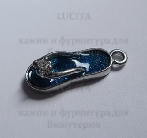 """Подвеска с эмалью """"Пляжный тапочек"""" 19 мм (цвет - платина) ()"""
