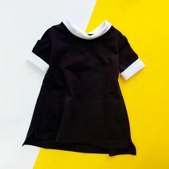 Платье чёрное с белыми манжетами