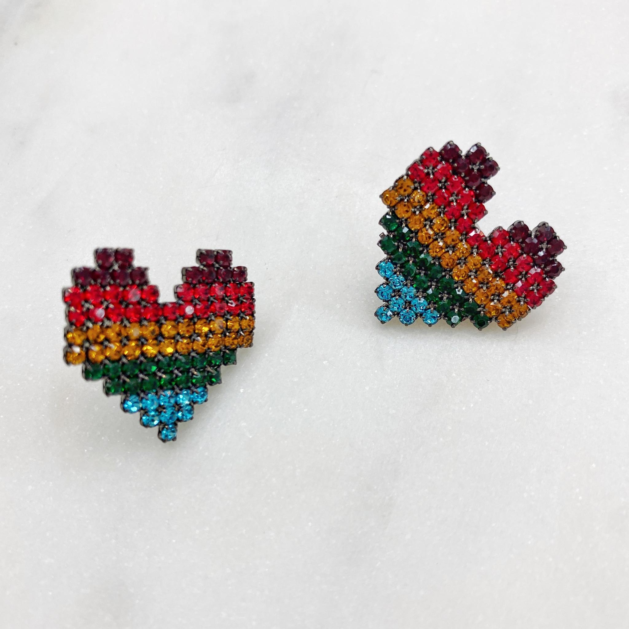 Серьги MIX сердечки ш925 (мультицвет)