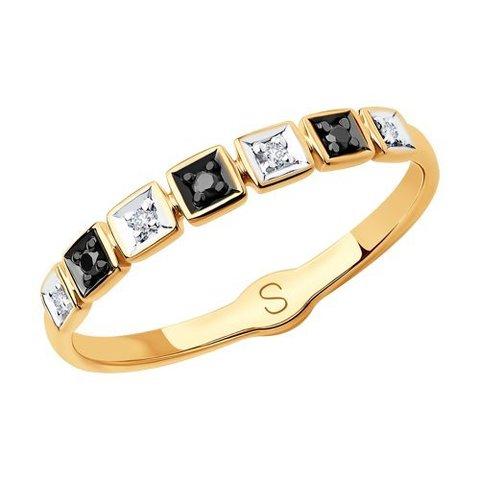 7010054 - Кольцо из золота с бесцветными и чёрными бриллиантами