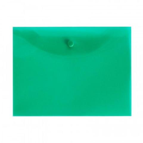Папка конверт на кнопке А5, 19х24, 180мкм, зеленый