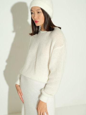 Женский джемпер белого цвета из мохера и шерсти - фото 3