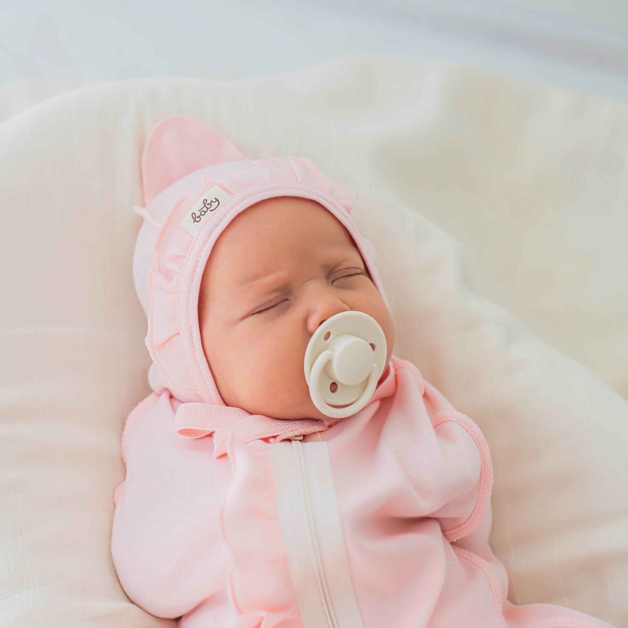 Ruffled baby hat 0+, Light Pink