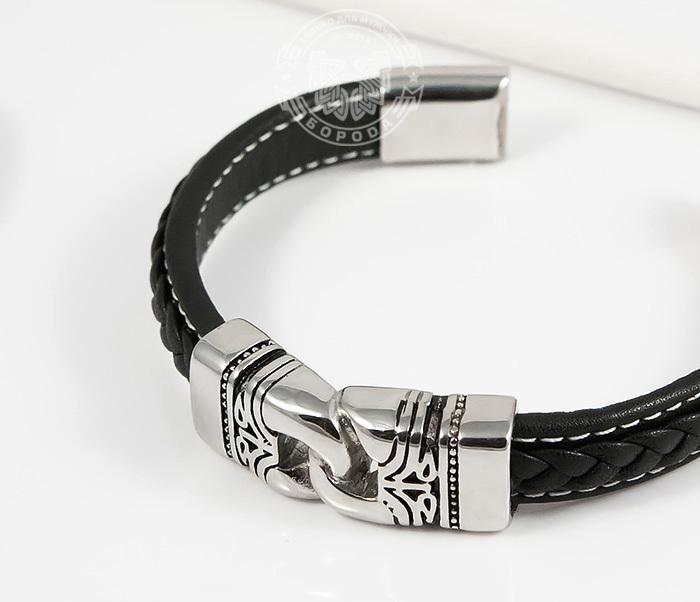 BM411 Красивый мужской браслет из кожи и стали (20 см) фото 03