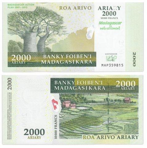 Банкнота 2000 ариари 2007 год План действий, Мадагаскар. UNC