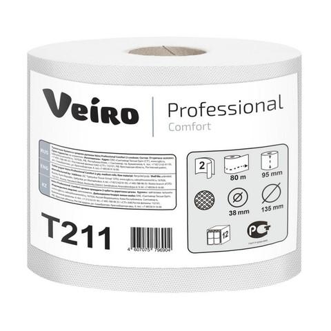 Бумага туалетная в рулонах Veiro Professional Comfort 2-слойная 12 рулонов по 80 метров (артикул производителя Т211)