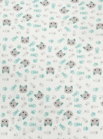 Чудо-Чадо. Плед Флисенок 120х85 см, белый/котики