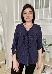 Ріма. Вільна жіноча блуза з зав'язками. Синій горох