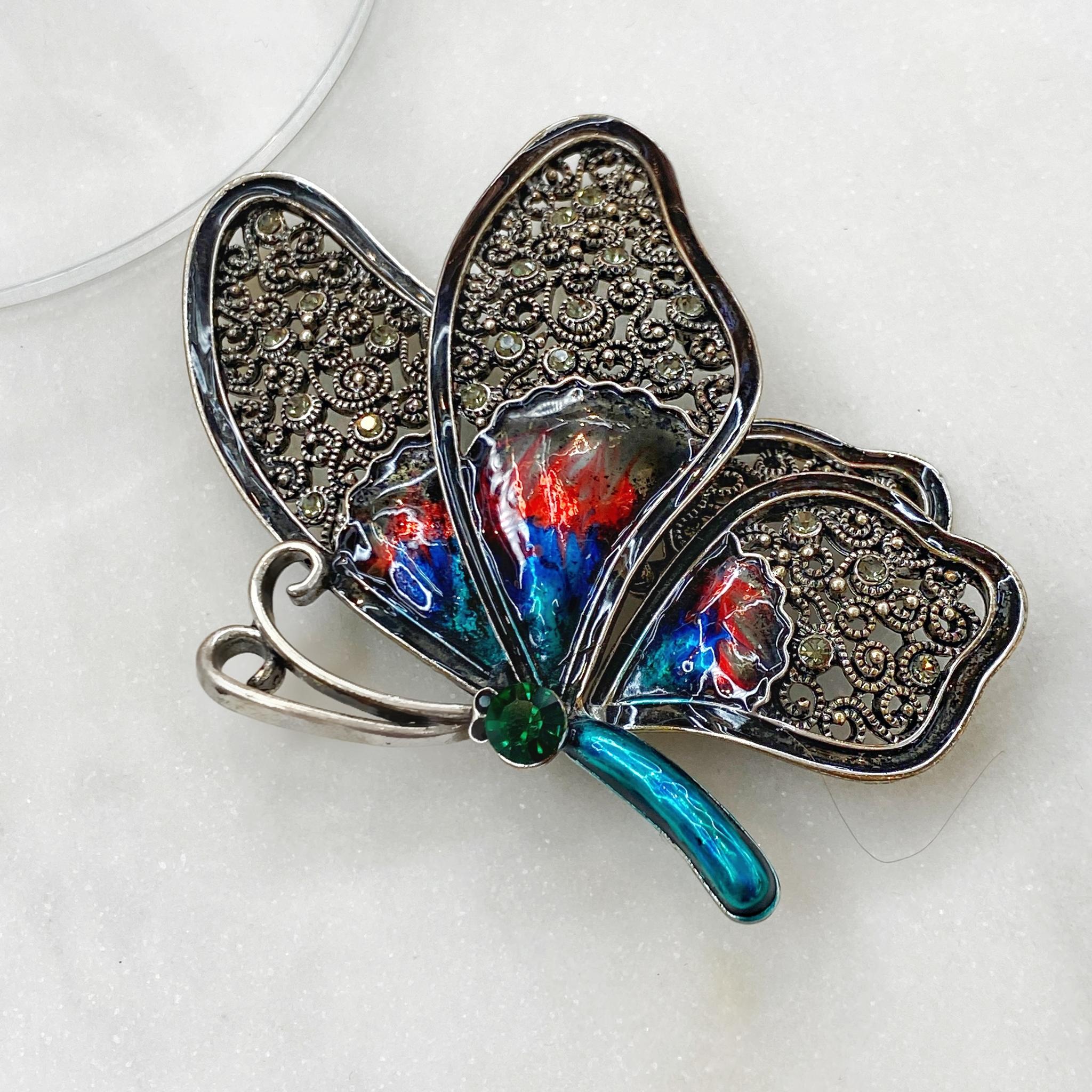 Брошь Бабочка Профиль эмаль синий черненый