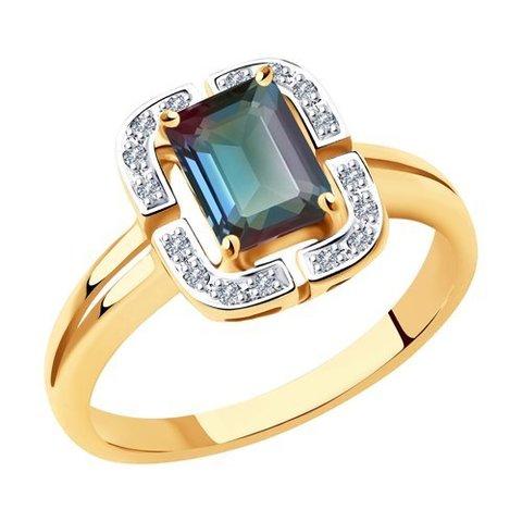 6014181  - Кольцо из золота с бриллиантами и александритом
