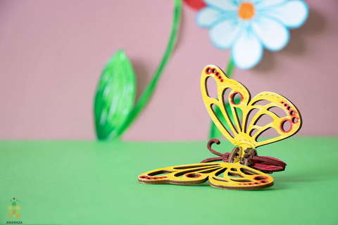 Бабочка UNIT (UNIWOOD) - Деревянный конструктор, 3D пазл, сборная модель