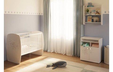 Кровать детская Polini kids French 700, Teddy, белый-дуб пастельный