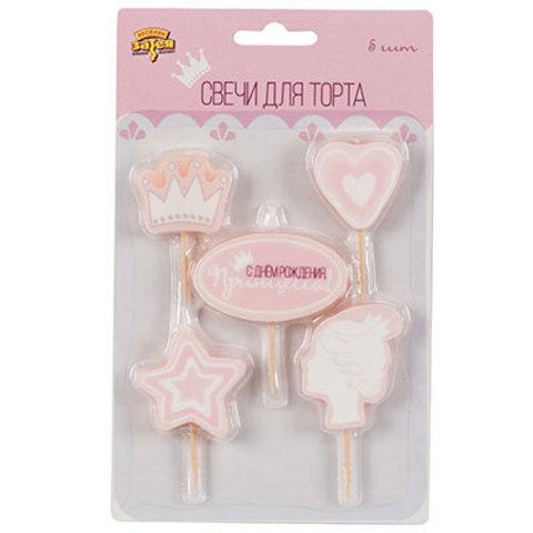 Свечи для торта на пиках Принцесса, 5 шт