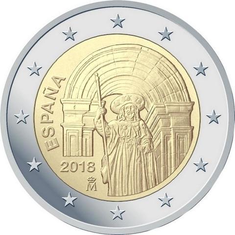 2 евро 2018 Испания - Исторический центр Сантьяго-де-Компостела