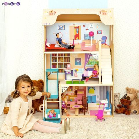 """Кукольный домик для Барби """"Грация"""" (16 предметов мебели, лестница, лифт, качели)"""