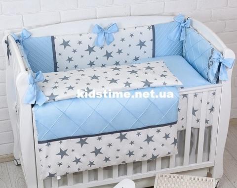 Комплект постельного белья в детскую кроватку ROYAL голубой