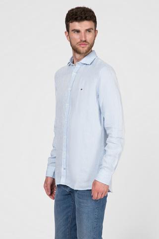 Мужская голубая льняная рубашка SLIM CROSSHATCH Tommy Hilfiger