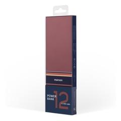 Внешний аккумулятор с БЗУ Rombica NEO ARIA Wireless Maroon, 12 000 мАч, Qi, S-touch, PD, QC, Type-C, бордовый/синий