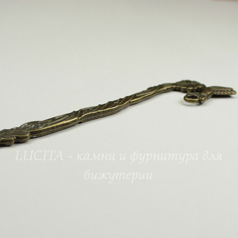 "Основа для закладки ""Птичка""  (цвет - античная бронза) 125 мм"
