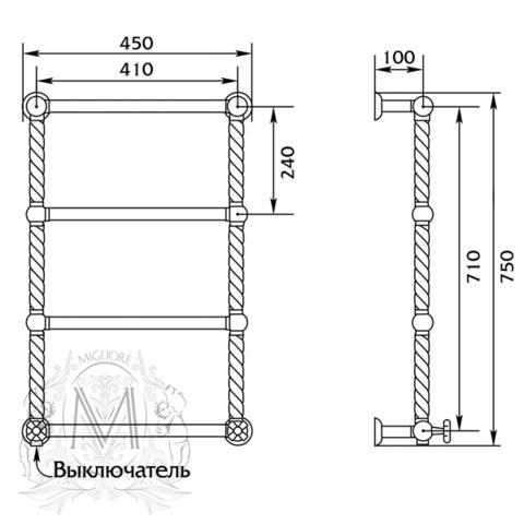 Полотенцесушитель электрический Migliore Edera ML.EDR-EL.100 45x75см. схема