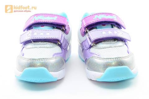 Светящиеся кроссовки для девочек Пони (My Little Pony) на липучках, цвет серебряный, мигает картинка сбоку. Изображение 5 из 15.