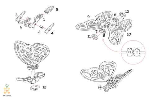 Бабочка UNIT (UNIWOOD) - Инструкция - Деревянный конструктор, 3D пазл, сборная модель