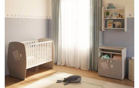 Кровать детская Polini kids French 700, Teddy, белый-серый