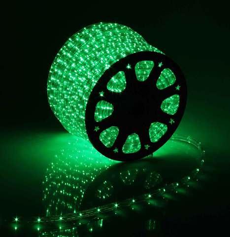 Дюралайт светодиодный, чейзинг, 13мм - 3 жилы - 36 led/m, Зеленый - 100м