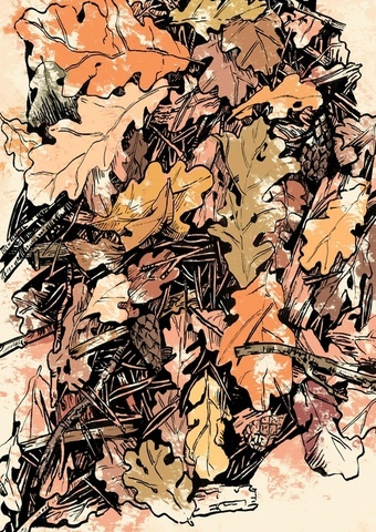 Открытка с дубовыми листьями (Ольга Тамкович)