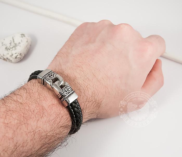 BM411 Красивый мужской браслет из кожи и стали (20 см) фото 06