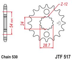 Звезда передняя JT F 517.17 KAWASAKI ZZR 1100 1200 1400 ZX 14
