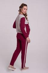 Трикотажные брюки с эластичной резинкой цвет бордо+беж