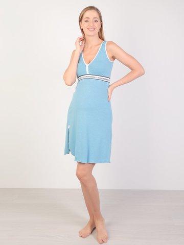 Euromama/Евромама. Сорочка для беременных и кормящих с V-образным вырезом, меланж голубой