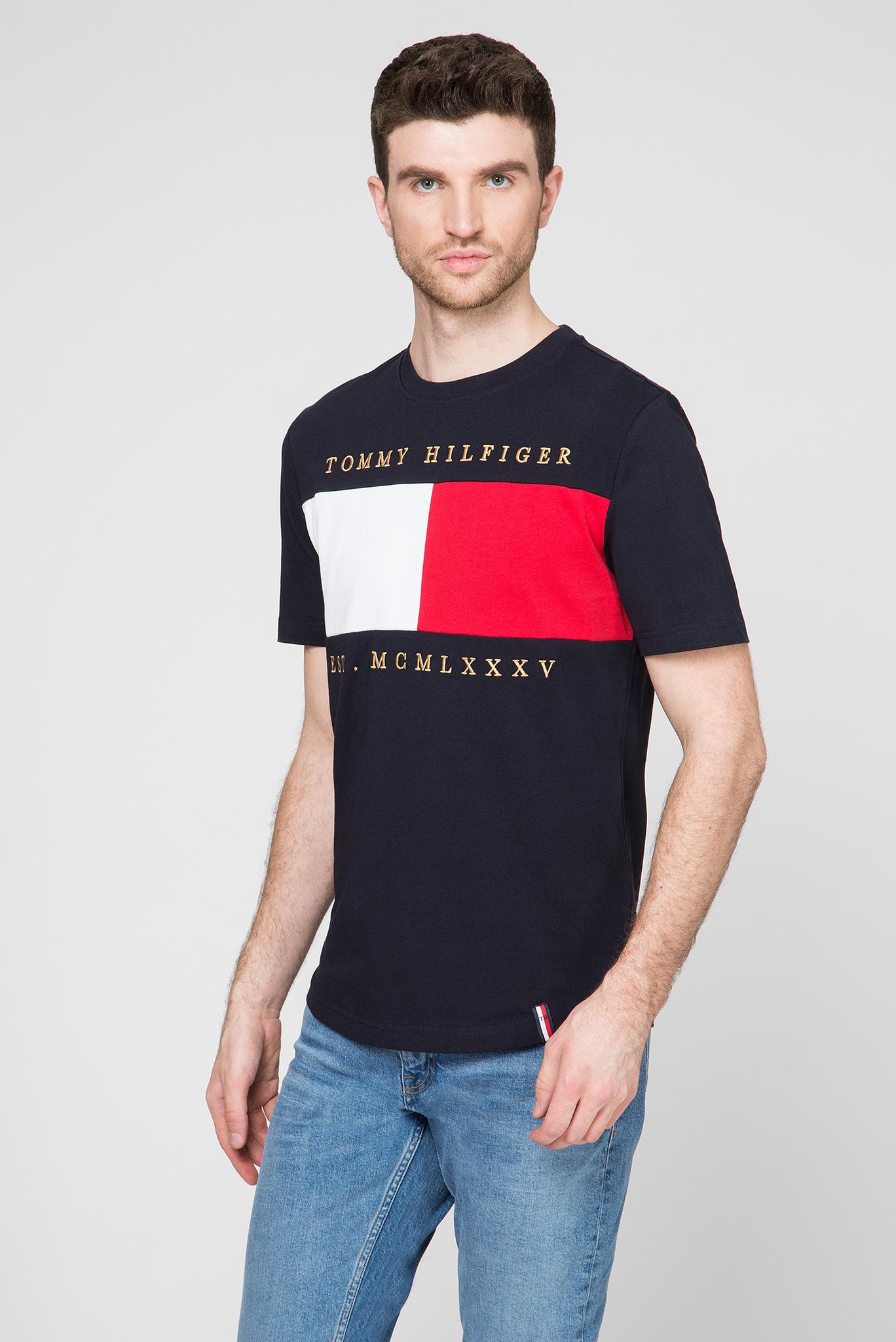 Мужская темно-синяя футболка FLAG CHEST EMBROIDERY RELAX Tommy Hilfiger