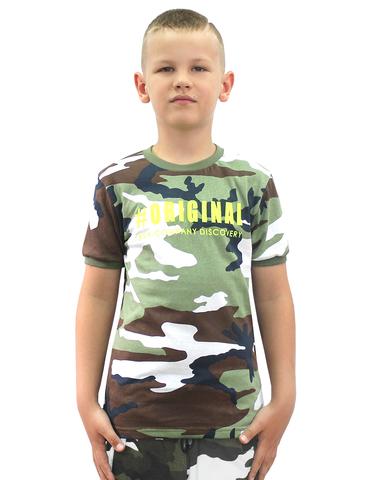 Футболка детская камуфляжная Бело-зелёный КМФ 3746