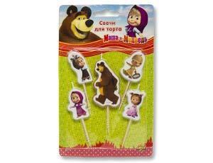 Свечи для торта на пиках Маша и Медведь 5шт