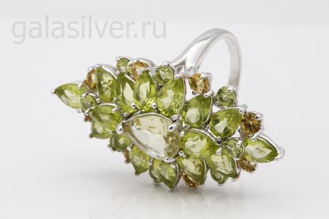 Кольцо с хризолитом, кварцем и цитрином из серебра 925