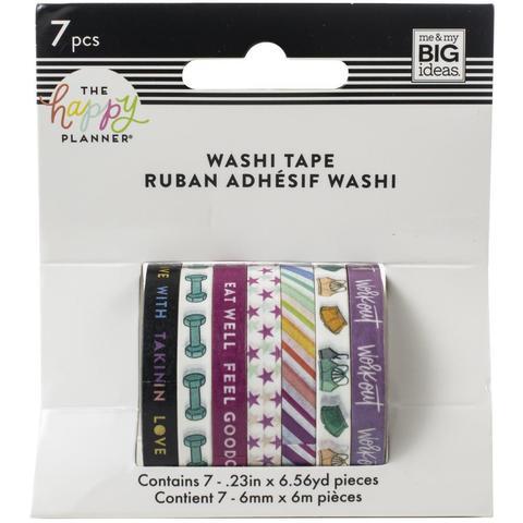 Набор скотчей Happy Planner Mini Washi Tape 3 мм x 6 м х 10 шт - Fitness