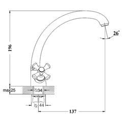 Фото размеры смесителя для кухни DTZ4-C (TLC)