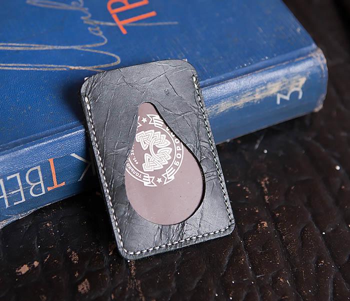 WL248-1 Черный кожаный чехол кардхолдер для карточки, абонемента, пропуска