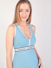 Euromama/Евромама. Сорочка для беременных и кормящих с V-образным вырезом, меланж голубой вид 4