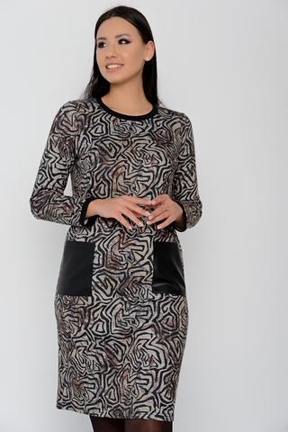 <p>Элегантное платье прямого силуэта с карманами из эко-кожи. Теплый, уютный трикотаж доставит Вам массу удовольствий. Отличное решение для офиса.&nbsp;</p>