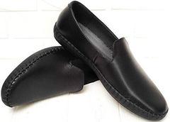 Осенние туфли слипоны кожаные мужские casual Broni M36-01 Black.