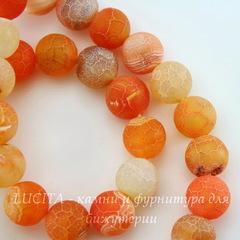 Бусина Агат цветочный матовый (тониров), шарик, цвет - оранжевый, 10 мм, нить